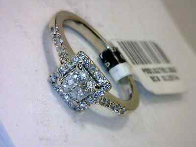 GORGEOUS 14k WHITE GOLD DIAMOND CLUSTER ENGAGEMENT RING size 6
