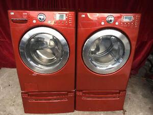quick sale CHERRY RED FRONT LOAD WASHER & ELECTRIC DRYER