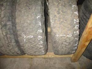 USED 265/75 R16 BF GOODRICH TIRES (SET OF 2) - 75% TREAD