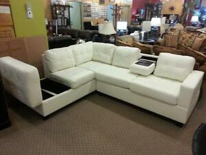 NEW BONDEDLEATHER SECTIONAL WITH CUP HOLDERS AND REVERSABLE STORAGE CHAISE  ON SALE ONLY $998 IN STOCK  SAME DAYDELIVERY