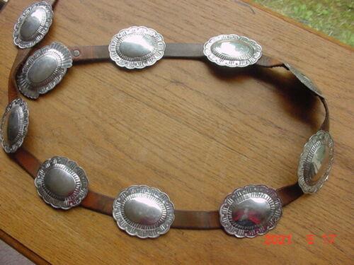 OLD VINTAGE NAVAJO INDIAN  SILVER CONCHO BELT STAMPED DESIGNS SCALLOPED EDGES