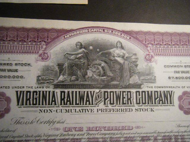Virginia Railway & Power Company Set-3 CRISP unissued but signed BEAUTIFUL Certs