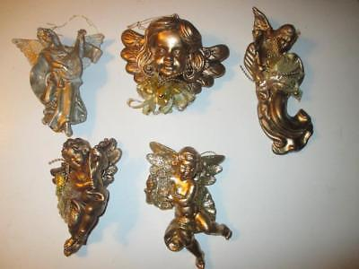 5 Vintage Blow Mold Gold Large Plastic Christmas Ornaments. Angels