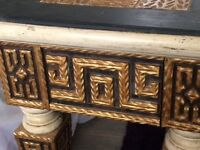 Console Table (Ornate Gold/Black) Shabby-Chic