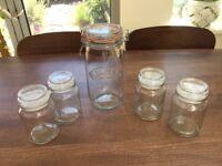 1 Large Kilner Storage jar. size 5 and 4 Medium Glass Storage glass jars. Collect Fulham