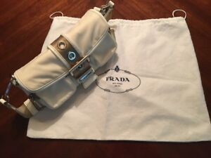 Authentic Prada White/Cream/Beige Nylon Leather Shoulder bag