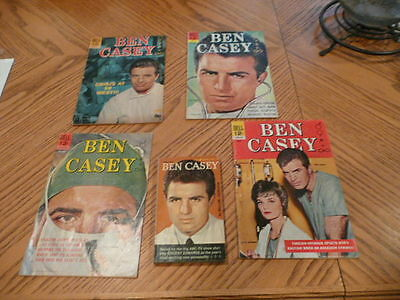 5 Ben Casey items Lot of 4 Dell comics and 1 book TV Doctor 1960s