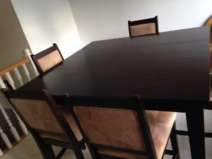 Solid wood table with 6 chairs- pub style
