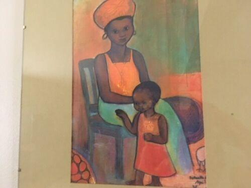 Vintage Original Signed Chalk Wall Art/Tribal/Ethnic art/African Folk Art
