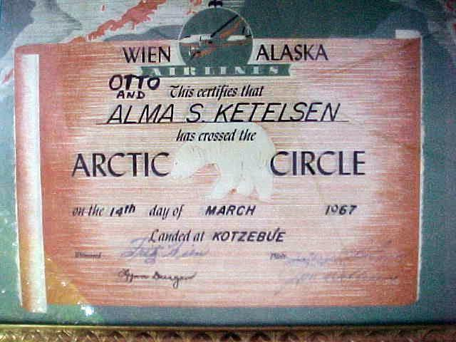signed 1967 Wien Alaska Airlines ARCTIC CIRCLE crossing~certificate w/frame