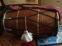 Professional Full Size Indian Dhol Drum with Sticks and a Bag