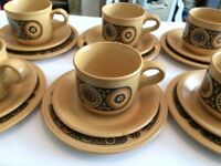 VINTAGE 70s, 60s Retro KILN CRAFT TEA SET - Cup, Saucer, Side Plate - 6 sets