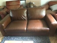 Next Brown Leather 2 Seater Sofa