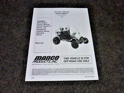 MANCO MODEL 612-00 612-01 GO KART PARTS LIST OPERATORS MANUAL CART