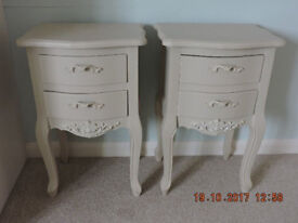 French Style Cappachino/Cream Bedside Tables x 2 - New