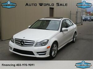 2013 MERCEDES BENZ C300-4 MATIC/ NAVI-AWD WHITE