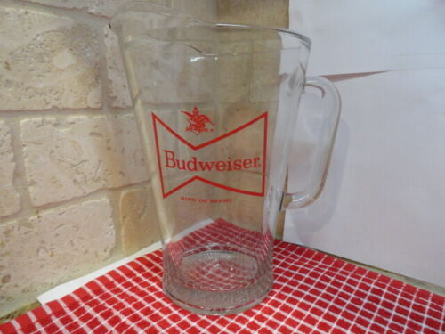 """Vintage Budweiser Red Bowtie Logo Beer Pitcher Clear Glass 9"""" Tall"""