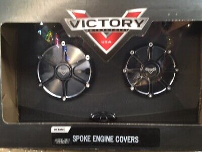 Victory Motorcycle New OEM Black Billet Spoke Engine Covers, Octane, 2881225-658