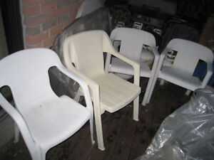 4 Wide seat Heavy duty Plastic patio Chairs, 2 for $25+2 for $20
