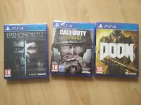 PS4 Call Of Duty World War 2 CoD, Doom, Dishonored 2 BRAND NEW Playstation games