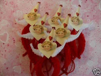 Valentine Ornaments (PRIMITIVE VINTAGE STYLE VALENTINE GIRL ORNAMENTS CHENILLE FEATHER)