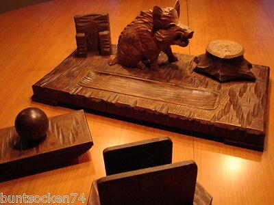 Schreibtischgarnitur mit Wildschwein Keiler - a.d. Erzgebirge - handgeschnitzt -