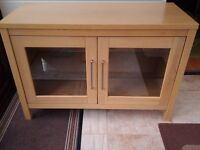 Oak Television/Video cabinet with glass shelf