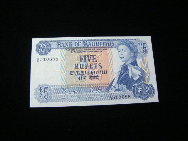 Mauritius 1967 5 Rupees Banknote Gem Uncirculated Pick#30c