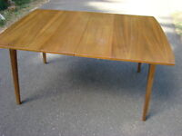 Mid Century Satin Walnut Dining Table and Chairs