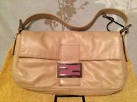 Pre-Owed Authentic Fendi Baguette - Sand Beige and Pink
