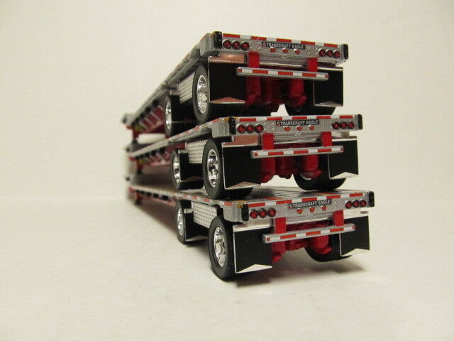 3   DCP 1/64 SCALE TRANSCRAFT STEP DECK TRAILERS  SILVER DECK WITH RED FRAME 2