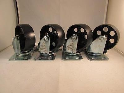 """(4) 3.5"""" steel swivel wheels caster casters 385 lb capacity each"""