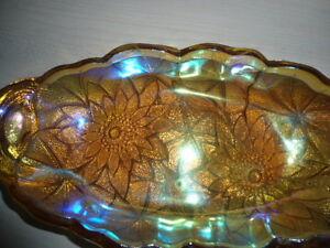 Amber carnival glass celery dish Belleville Belleville Area image 2