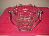 Quality Heavy Based Italian Glass Bucket With Plated Metal Swivel Handle OFFERS WELCOME