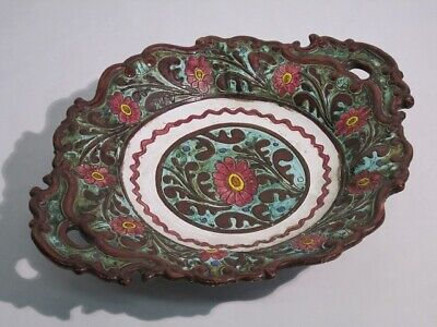 Majolica Graffito of Xx Century Tray a Two Handled Dish Painting and Numbered