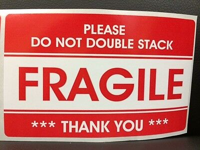 100 3.2x5.2 Fragile Stickers Please Do Not Double Stack Sticker Fragile Ship New