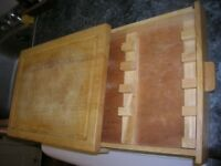 Big Wooden Cutting Board with a convenient knife drawer