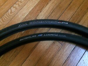 2x road bike tire, Specialized and Schwalbe 700x23c