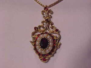 "#2943-STUNNING! 10K GARNET/PEARL*BOX LINK 18"" NECKLACE"