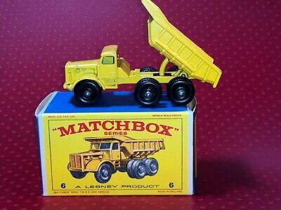 Matchbox No. 6 Euclid Quarry Yellow Dump Truck & It's Nice Original Box