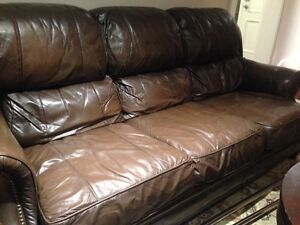 Drexel Heritage Leather Sofa & Matching Large Chair w Ottoman