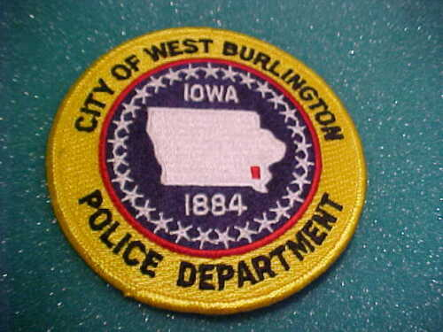 WEST BURLINGTON IOWA POLICE PATCH SHOULDER SIZE UNUSED 4 X 4