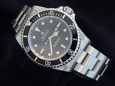 Rolex Submariner Stainless Steel Watch No Date Sub Black Dial & Bezel 14060