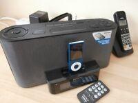 Radio, alarm, iPod dock .