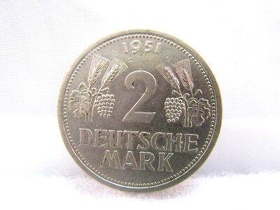 Bundesrepublik Deutschland BRD Münze 2 DM Deutsche Mark 1951 J