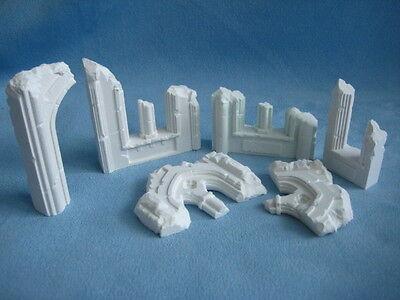 6 piece Ruins Set Unpainted Ceramic Thomarillion Terrain Dwarven Forge