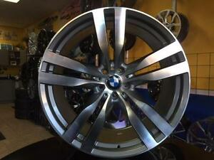 ENSEMBLE KIT MAGS ET PNEUS BMW X5 X6 22'' NEUFS STAGGERED GUNMETAL / FACE MACHINÉ
