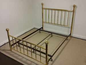 Queen Brass Headboard and Footboard with Frame