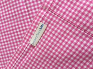 Pottery Barn Kids bright pink gingham panels