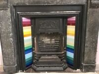 VICTORIAN STYLE CAST IRON ART NOUVEAU FIREPLACE SURROUND, TILES, INSET, INSERT, FRONT GRILL